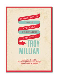 Birthday Party Invitation 21st 30th 40th 50th 60th Modern Typography Poster Invitation Blue Red DIY Digital or Printed - Troy Style. $20.00, via Etsy.