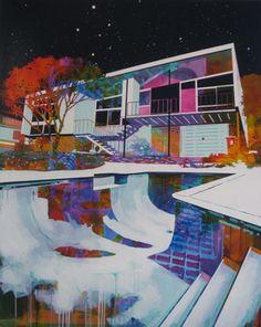 © Paul Davies ~ Mum's House with Empty Pool ~ 2011 acrylic on linen at Olsen Irwin Gallery Sydney Australia Art And Illustration, Illustrations, Graffiti, Rendering Art, Animation, Australian Artists, Urban Art, Landscape Paintings, Landscapes