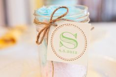 laurenwphotography.com my bridal shower, cotton candy, mason jar, twine, monogram, wedding date, dessert, food, party, entertaining