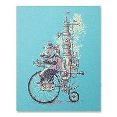 """Sunday Stroll Print / Bicycle Print / Bear Print / Animal Wall Art / Steampunk Art Print / Home Decor / 8 x 10 / 18 x 24. Peddling around the city with his feathered friend in tow, the machine took off into the distance with a steamy glow. White, Dark Blue and Peach print. Available in 8"""" x 10"""" and 18"""" x 24"""" dimensions. Depending on size, prints are rolled or packed flat for shipment. Made in USA."""