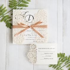 modern floral laser cut formal wedding iinvites