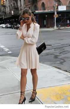 white-shirt-and-skirt-with-lace-up-high-heels