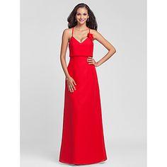 vaina / columna cabestro palabra de longitud vestido de dama de honor de gasa – USD $ 79.19
