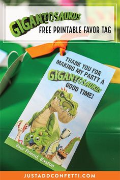 Planning a Gigantosaurus birthday party? Be sure to download the free printable thank you party favor tag for your next dino-mite celebration!  #JustAddConfetti #gigantosaurus #freeprintable #partyfavortag
