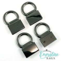 New edge connector strap anchors in gunmetal finish for your next handbag project.