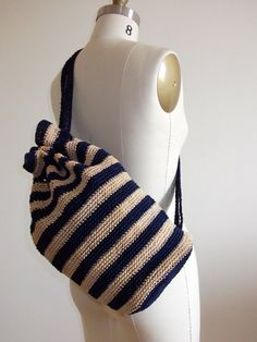 Vintage 90s Striped Navy Blue and Natural Woven Book Bag Nautical BeachTote 1990s Bag
