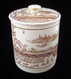 Staffordshire Victorian Brown Transferware Biscuit Jar ~ MYSORE 1883 Landscape Tattoo, Brownie Points, Aesthetic Movement, Chocolate Pots, Fine Porcelain, Cookie Jars, Green And Brown, Tins, Fern