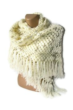 women fashion shawl, 2013 crochet trends, soft, winter, fall, spring, ivory, wedding accsessories, gifts for her. $65.00, via Etsy.