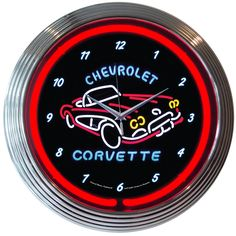 Corvette! It's rockin' on this 15 inch neon clock with a red glass neon tube around the fantastic illustration!