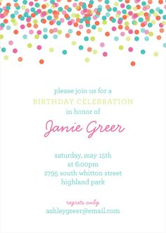 Falling Confetti Invitation   DIY PRINTABLE by PolkaDotDesignShop, $15.00