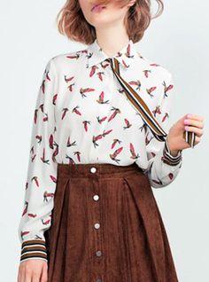 Chic Shirt Collar Long Sleeve Bird Print Shirt For Women
