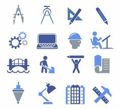 Engineering Icons Free vector in Adobe Illustrator ai ( . Civil Engineering Symbols, Civil Engineering Design, Engineering Tools, Ing Civil, Compass Logo, Drafting Tools, Office Logo, Science Icons, Lego Wall