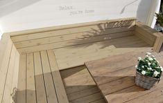 Bilderesultat for DIY utesofa Furniture, Outdoor Decor, Relax, Home, Hardwood Floors, Entryway Tables, Outdoor Furniture, Back Gardens, Coffee Table