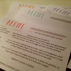 Emma Courtney: Recipe Card Printables