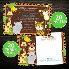 20 Invites and Thank you notes   Wild by LittleBeesGraphics, $26.00