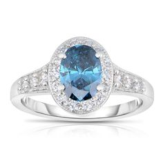 Eloquence 14k White Gold 1 3/8ct TDW Blue Diamond Engagement Ring (Blue, I1-I2)