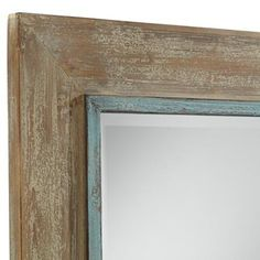 "Uttermost Gardere Blue Trim 30"" x 40"" Wood Wall Mirror"