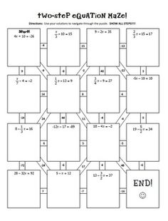 TWO-STEP EQUATIONS NOTES & MAZE ACTIVITY - TeachersPayTeachers.com