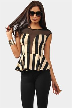 Stripe Party Top - Taupe/Black
