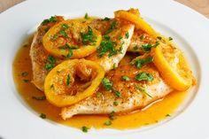 Honey Lemon Chicken Recipe Main Dishes with chicken breasts, salt, pepper, oil, ginger, lemon juice, honey, chicken stock, salt, pepper