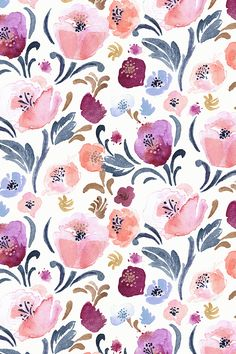 Autumn Blush floral design by Crystal_Walen - Hand painted watercolor floral pattern in shades of pink and blue on fabric, wallpaper, and gift wrap. Painterly floral pattern in deep muted shades perfect for brightening up a living room or dinner party! #homedecor #interior #floral #weddingfloral #flowers #watercolor #painting