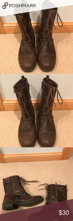 White Mountain Brown Combat Boots Brown Combat Boots. Gently used and perfect for fall! White Mountain Shoes Ankle Boots & Booties