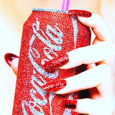 red cola nails on We Heart It Coca Cola Can, Always Coca Cola, Pepsi, Tumblr, Glamour, Favim, Swarovski Crystals, Inspiration, Sodas
