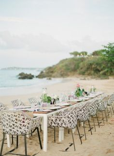 modern beach setting |  Photography by lexiafrank.com |  Floral Design by stem-pr.com |  Read more - http://www.stylemepretty.com/2013/06/24/viegues-island-puerto-rico-wedding-from-lexia-frank-photography/