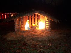 Handmade Creche From Pallets With Nativity Set Made From