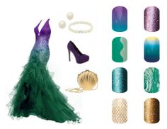 Ariel, The Little Mermaid, Disney Inspired Jamberry Nail pairings http://ashleymagee.jamberrynails.net/