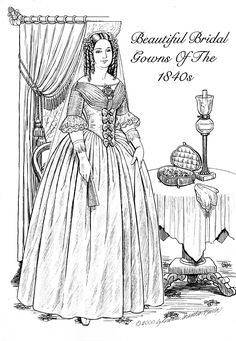 The bride of the 1840s is the more familiar early Victorian look with her long spaniel curls and bell shaped skirts.  Styles were much simpler.  Set-$8 To see more, click here  http://www.fancyephemera.com/bridepage2.html#GOWNS1840S