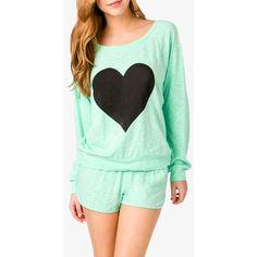 FOREVER 21 Slub Knit Heart PJ Set ($17) found on Polyvore