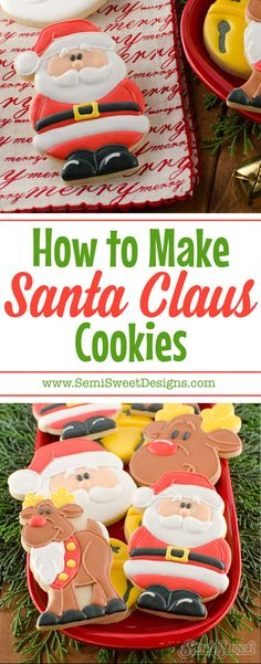 How to make Santa Claus cookies with royal icing! Detailed tutorial and cookie cutter available at SemiSweetDesigns.com