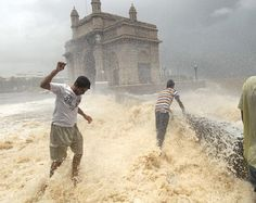 the getaway of India in mumbai, flooded with water