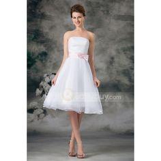 blanco #vestido de dama de honor sin tirantes