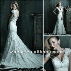 Gorgeous sexy deep v-neck short sleeve fish tail vintage lace wedding dresses