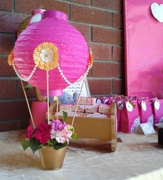 Pink & Gold Hot Air Balloon and Baby Elephant theme | CatchMyParty.com