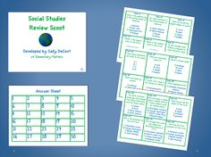 Social Studies review SCOOT game printable, fun and easy looking :)