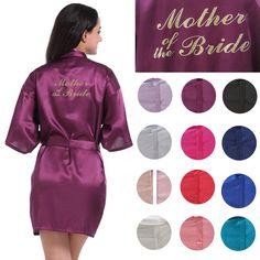f704b92181e0 Customize Mother Of The Bride Gold Print Short Plain Satin Kimono Cheep  Wedding Party Robes Silk Satin Kimono Bathrobe Party Favors Gift