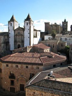 Cáceres, Extremadura  Spain. This is a town square with a very famous and distinct architectural style.