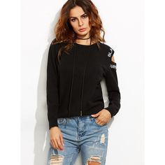 Black Letter Embroidered Asymmetric Open Shoulder Sweater ($21) ❤ liked on Polyvore featuring tops, sweaters, black, asymmetric top, round top, embroidered sweaters, cold shoulder sweater and long sweaters