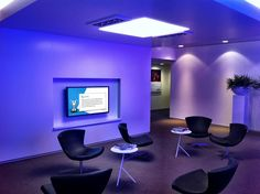 Communication made visible in a corporate waiting room. Content is tailored to the specific audience.