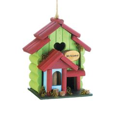 I have been looking for a new birdhouse to hang in my backyard. It would be nice to have one with bright colors like this. That way, it will match the decorations I already have up.