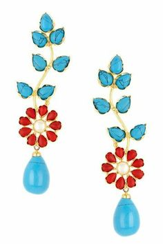 Tiffany blue and red flower dangle earrings