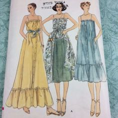 Vtg Vogue Maxi Midi Boho Dress & Underskirt Pattern 7071 Uncut Sz 10 Bust 83cm #Vogue