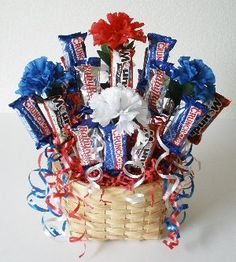 "4th of July candy bouquet by ""Incredible Edible Crafts"""