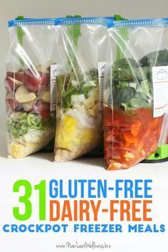 Gluten free, fairy free crock pot freezer meals. Site links to recipes on other pages