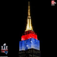 One of New York's most iconic buildings is colored in New England Patriots red, white and blue. ❤❤ this!