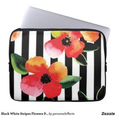 Black White Stripes Flowers Pattern Print Design Laptop Sleeve - black and white, black, white, pattern print, design, botanical, flora, floral, flowers, flower, roses, color, colors, girly