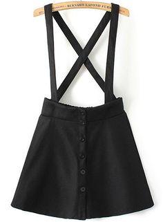 Black Strap Plaid Buttons Skirt 16.33